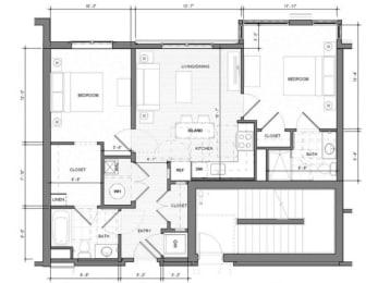 2BR-E1 Floor Plan| Merc
