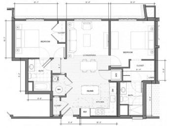 2BR-F Floor Plan| Merc