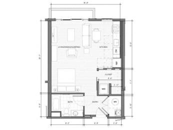 Studio-A-Balcony Floor Plan| Merc