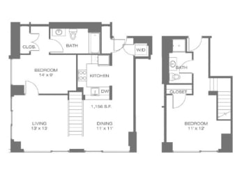 Two Bedroom Townhouse Floor Plan |Residences at Manchester Place