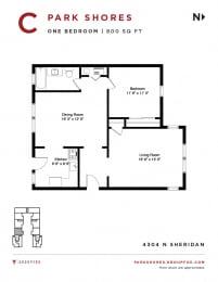 Park Shores -  One Bedroom Floorplan C