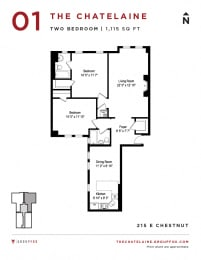 The Chatelaine - Two Bedroom Floorplan
