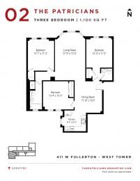 Group Fox - The Patricians - Three Bedroom Floor plan