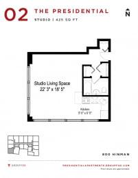 Presidential Apartments - Studio Floorplan 2