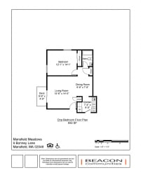 One Bedroom apartment at Mansfield Meadows in Mansfield, MA