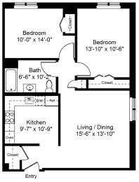 Floor Plan 2 Bedroom 1 Bath