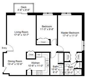 Floor Plan 2 Bedroom 2 Bath
