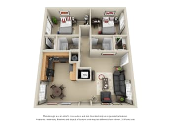 Madison Floor plan with Living room, Kitchen with attached Dining Area, 2 Bedrooms and 2 Baths. Furnished Options Available