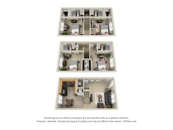 Shenandoah Split Level Floor Plan. Entry level with Kitchen, Dining Area, Living Room, Downstairs with 2 Bedrooms, 2 Baths. Upstairs with 2 Bedroom, 2 Baths. Floor Plans comes Fully Furnished