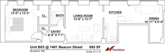 Floor Plan One Bed One Bath B03