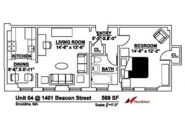 Floor plan at The Regent, Brookline, 02446