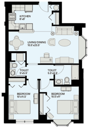 Floor plan at Marion Square, Brookline, MA 02446