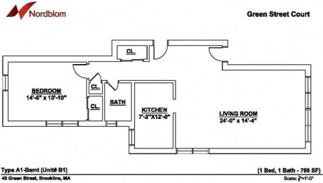 Floor plan at Green Street, Brookline,Massachusetts