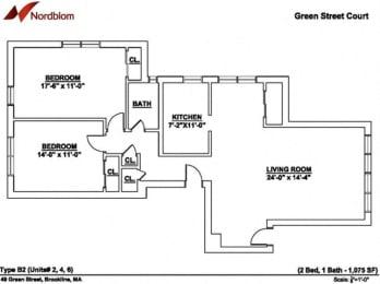 Floor plan at Green Street, Brookline, 02446