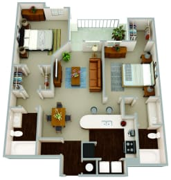 The Davis a two bedroom, two bath open concept apartment complete with wood flooring, granite countertops, stainless steel appliances and finishes. The large walk-in closets allow for optimal storage.