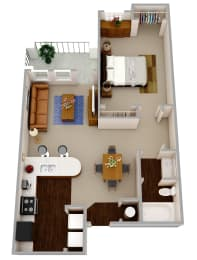 The Solomon a one bedroom one bath apartment with modern features that include wood flooring, granite countertops, dark wood cabinetry, and stainless steel appliances and hardware.