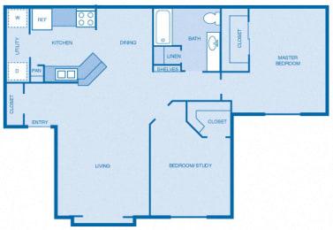 Floor Plan 2BR|1BA