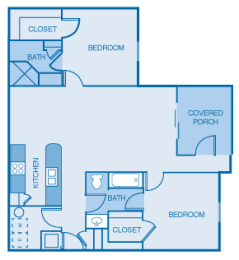 Two bedroom, Two Bath Floor Plan at Orchard Hills, Indiana, 47130