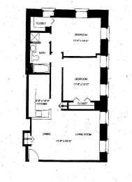 Floor Plan Mass Mills I 2BR/1BA
