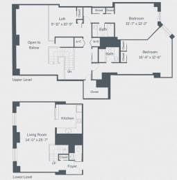 Penthouse Two Bedroom Floor Plan at The Franklin Residences, Philadelphia, PA, 19107