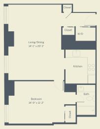 A3 Floor Plan at The Franklin Residences, Philadelphia, PA, 19107
