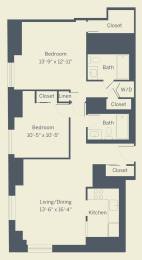 B3 Floor Plan at The Franklin Residences, Pennsylvania, 19107