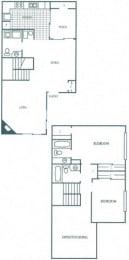 Floor Plan 2 Bedroom 2.5 Bath Townhome