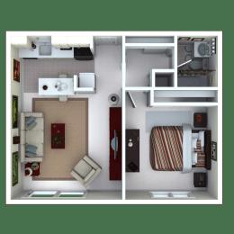 1 Bedroom, 1 Bathroom Floor Plan