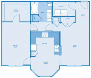 North Haven Floor Plan at Towne West Apartments, Houston, TX