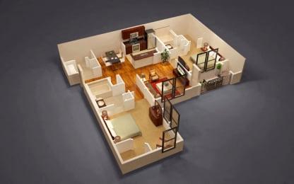 2 Bed 2 Bath Colonial Floor Plan at Kensington Place, Virginia, 22191