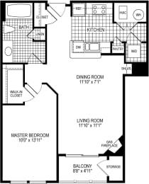 1 Bed 1 Bath York Floor Plan at Kensington Place, Woodbridge
