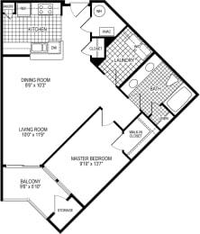 1 Bed 1 Bath Newcastle Floor Plan at Kensington Place, Virginia