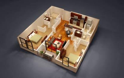 2 Bed 2 Bath Harvard Floor Plan at Kensington Place, Woodbridge, VA, 22191