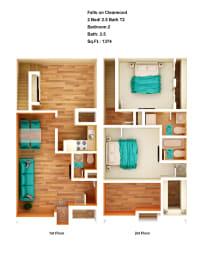 Floor Plan 2 Bed/ 2.5 Bath T2