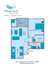 Floor Plan 1 Bedroom A1