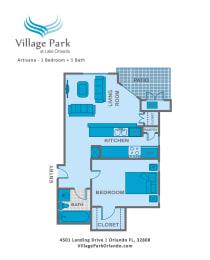 Floor Plan 1 Bedroom A2