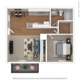 1BR/1BA 1 Bed 1 Bath Floor Plan at Sage Creek, California