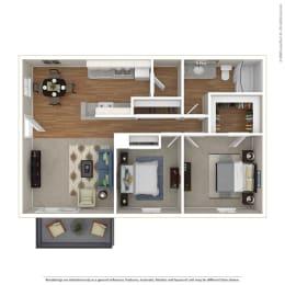 2BR/1BA 2 Bed 1 Bath Floor Plan at Sage Creek, California, 93063