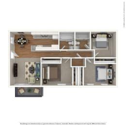 3BR/2BA Floor Plan at Sage Creek, Simi Valley, CA, 93063