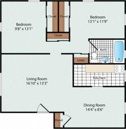 2 Bedroom Floorplan at Olde Salem Village