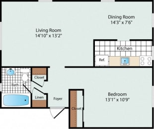1 Bedroom Floorplan at Olde Salem Village