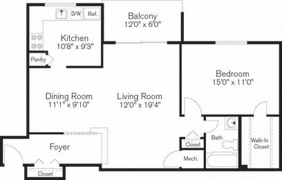One Bedroom Apartment, Floorplan, Beltsville, MD