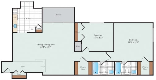 Two Bedroom Floorplan at Hickory Hill