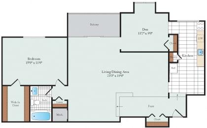 One Bedroom + Den Floorplan at Hickory Hill