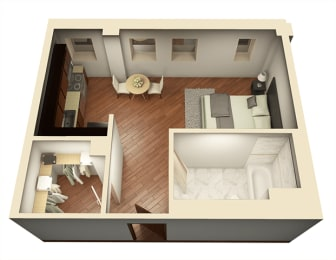 Studio 493 sq ft 3D Floor Plan at Somerset Place Apartments, Chicago