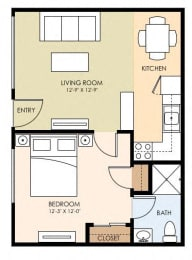 One Bedroom One Bath Floor Plan at The Arbors at Mountain View, Mountain View, 94040