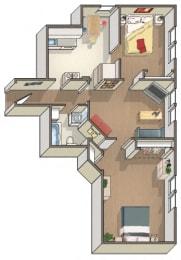 Kingston 2 Bedroom 1 Bath Floorplan at Barclay, WA