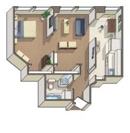 Newcastle 1 Bedroom 1 Bath Floorplan at Barclay, Washington