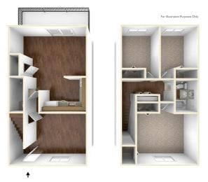 Three Bedroom Townhouse Floor Plan Rolling Green Apartments
