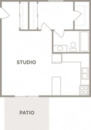 The Ash Studio Floor Plan at Kingston Square Apartments, Indianapolis, 46226